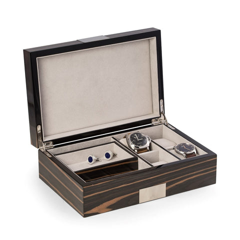 Bey-Berk JEWELRY Box Multi Purpose VALET Box Lacquered Wood Ebony