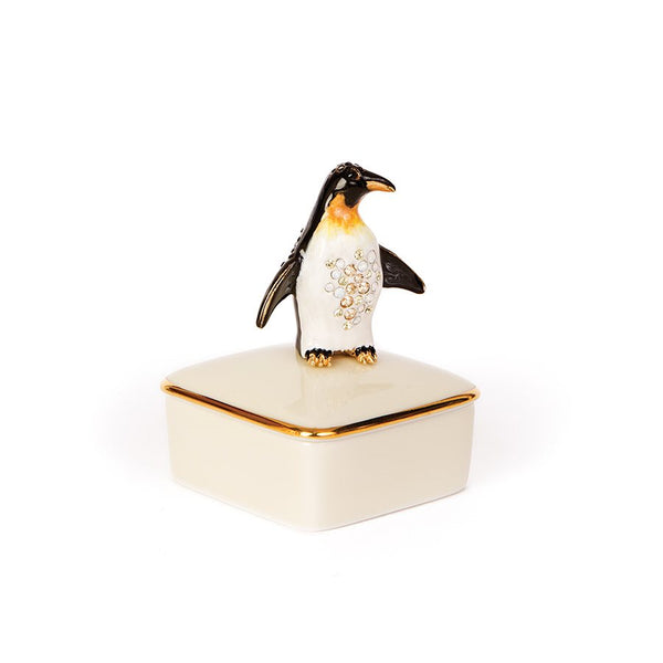 Jay Strongwater Penguin Porcelain Box Octavio 14k Gold