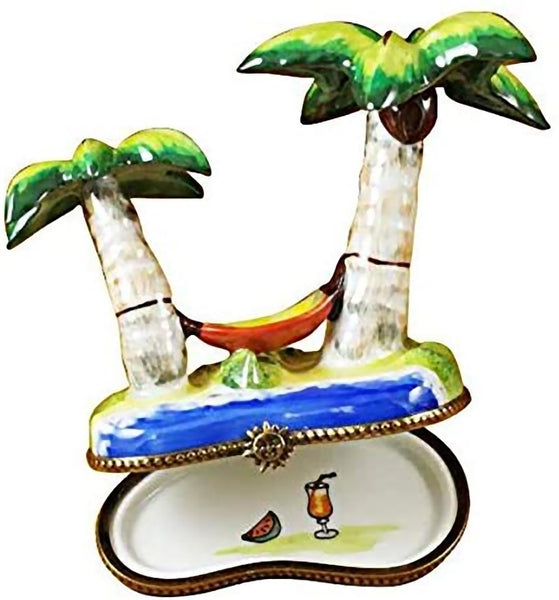 Rochard Limoges Palm Tree with Hammock Trinket Box