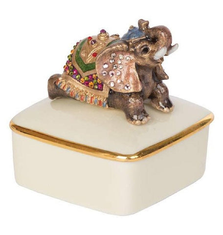 Jay Strongwater Porcelain Box PRIYA Elephant 14k Gold