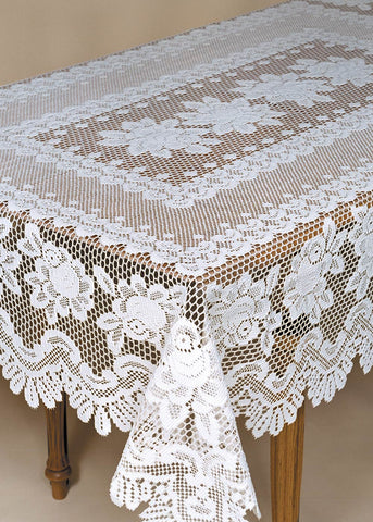 Heritage Lace ROSE Tablecloth 52 x 72 Rectangle Off-White Made in USA
