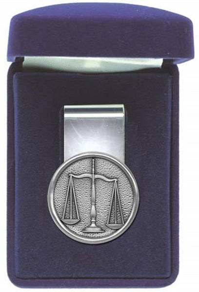 Scales of Justice Law Money Clip Solid PEWTER w/Gift Box