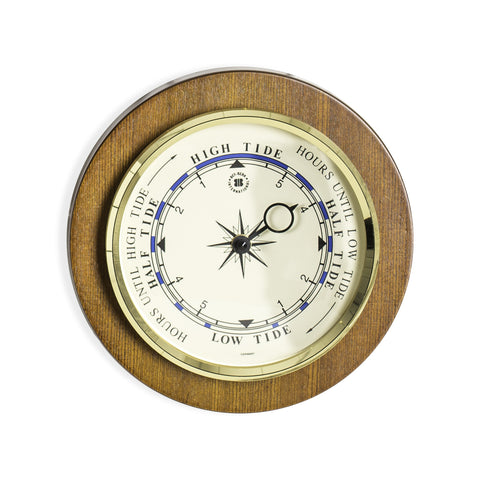 Bey-Berk TIDE Clock Brass on Cherry Wood