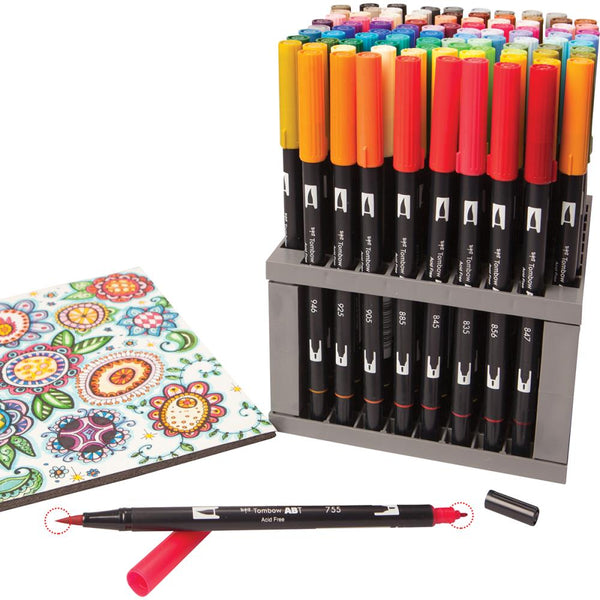 Tombow Dual Brush Marker Set 96 w/ Desk Stand