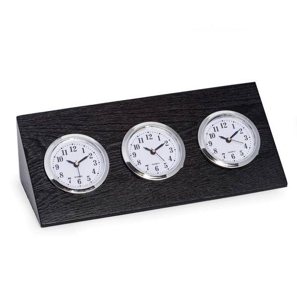 Bey-Berk CLOCK Triple Time Zone in Black Wood