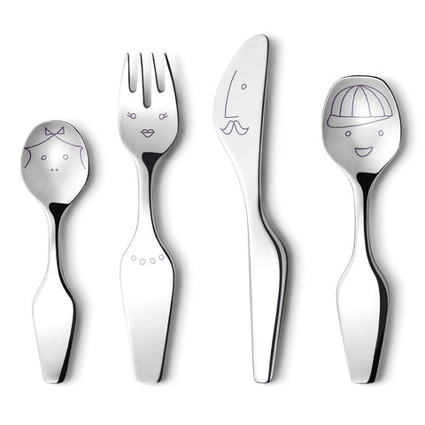 Georg Jensen CHILDRENS Place Setting Twist Family ALFREDO Cutlery 4 Piece Set