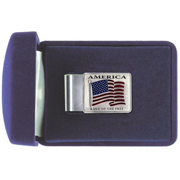 US Flag Money Clip Solid PEWTER w/Gift Box