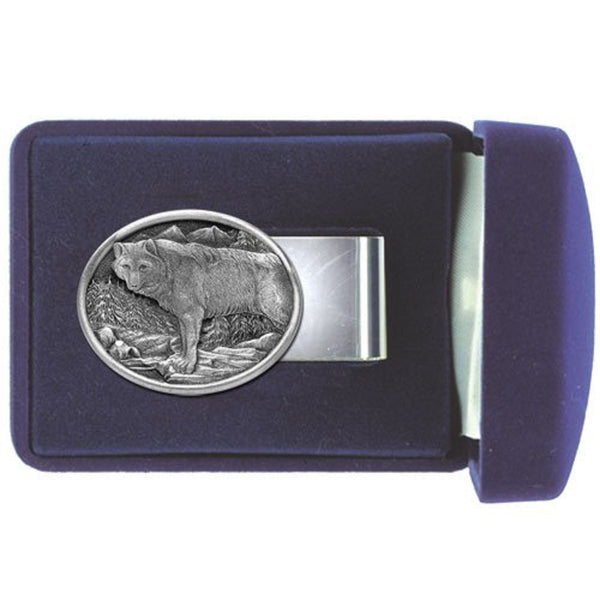 WOLF Money Clip Solid PEWTER w/Gift Box