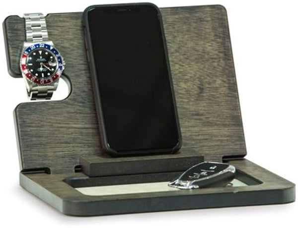 Bey-Berk Wooden Valet and Phone Charging Station Gray