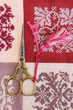 Embroidery SCISSORS Sajou EIFFEL Tower Gilded Gold w Pink Charm 4""
