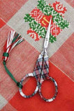 "Embroidery SCISSORS Tartan Plaid FRENCH Sajou 4 1/4"" w/ Box"