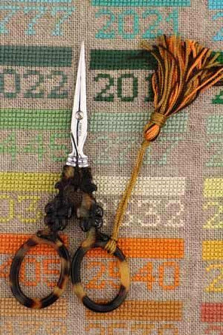 Embroidery SCISSORS Sajou FLOWER Motif Mother of Pearl TORTOISESHELL 4-1/2""