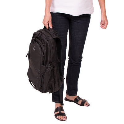 Union Street Traveler Backpack Girl Holding Handle