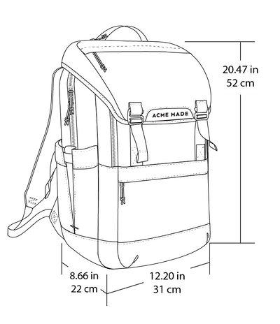 Divisadero Traveler Backpack ACME Made Dimensions