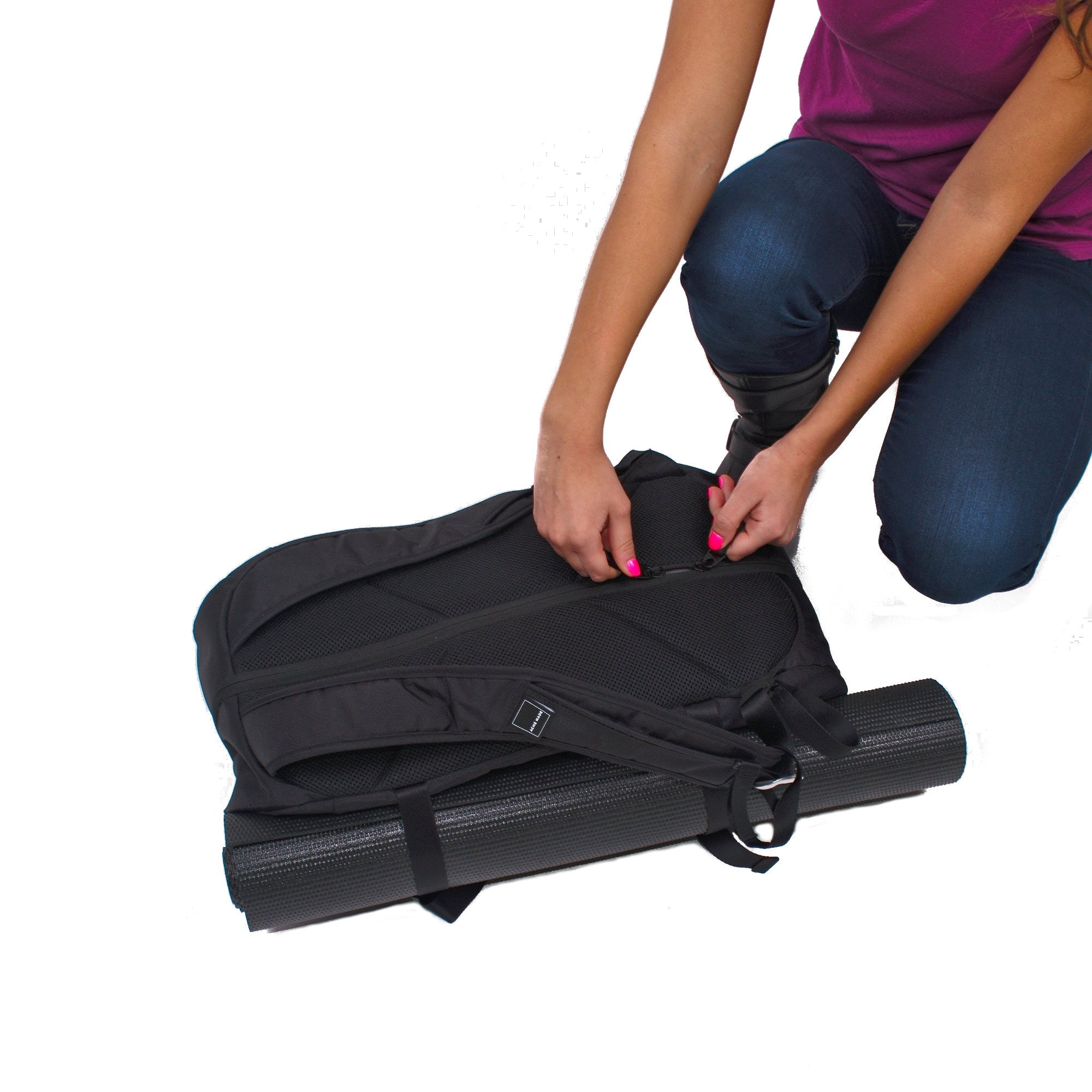 ... Stuffing Gym Clothes Into Bag · Union Street Gym Backpack Attaching  Yoga Mat 6f31777fc77c9