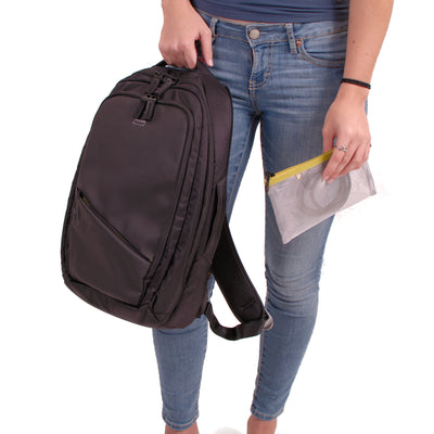 Union Street Commuter Backpack Girl Holding Handle
