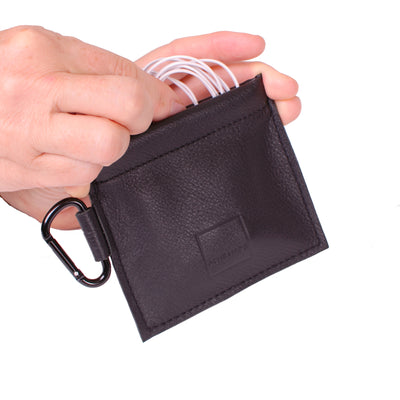Mini Spring-top Pouch Genuine Leather ACME Made Black Leather Charging Cord