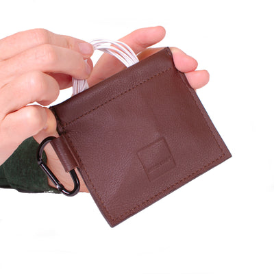 Mini Spring-top Pouch Genuine Leather ACME Made Brown Leather Charging Cord