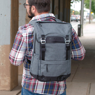 Divisadero Traveler Backpack ACME Made Brown Hair Guy Wearing Backpack