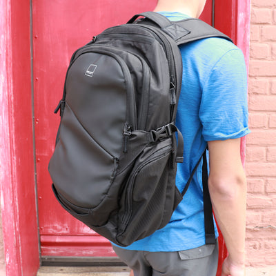 Union Street Traveler Backpack Guy Blue Tshirt
