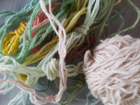 Unknitted yarn, ready to start again