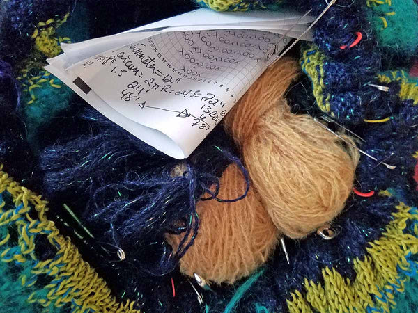 Planning yarn needed for a weekend's knitting.