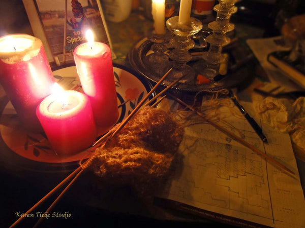 Knitting a lace sample by candlelight during Hurricane Matthew.