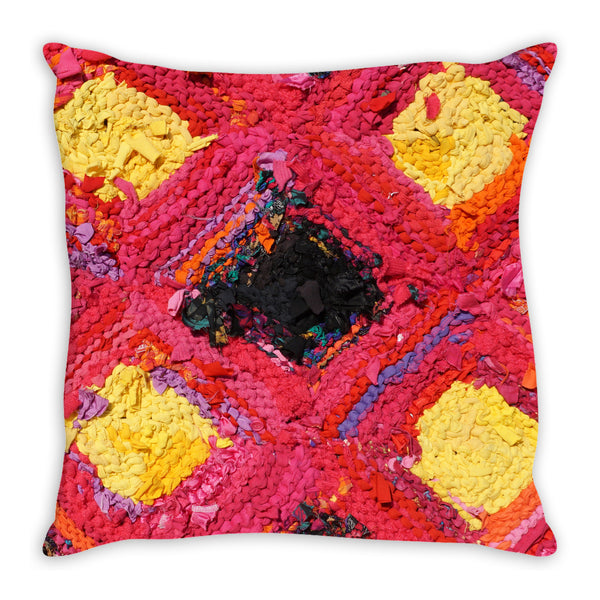 Pink & Yellow Log Cabin Throw Pillow
