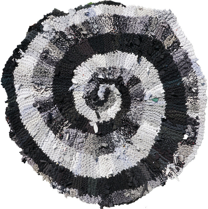 "Black and White and Gray Spiral Rug, 44"" - Knitted rug -  -  Karen Tiede Studio - 1"