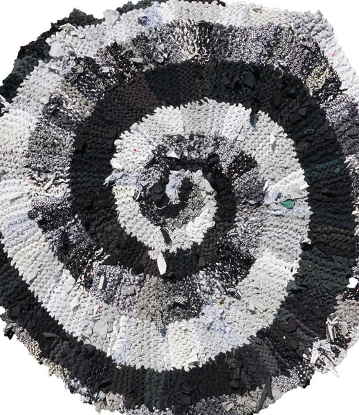 "Black and White and Gray Spiral Rug, 44"" - Knitted rug -  -  Karen Tiede Studio - 6"