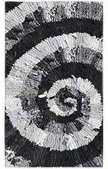 "Black and White and Gray Spiral Area Rug - Printed Rug - 22.5"" x 37"" -  Karen Tiede Studio - 2"