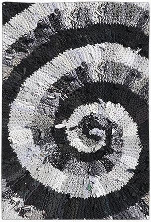"Black and White and Gray Spiral Area Rug - Printed Rug - 48"" x 72"" -  Karen Tiede Studio - 1"