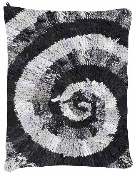 "Black and White and Gray Spiral OUTDOOR  Dog Bed - Dog Beds - Medium 30"" x 40"" -  Karen Tiede Studio - 2"