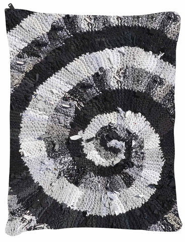 "Black and White and Gray Spiral Dog Bed - Dog Beds - Medium 30"" x 40"" -  Karen Tiede Studio - 2"