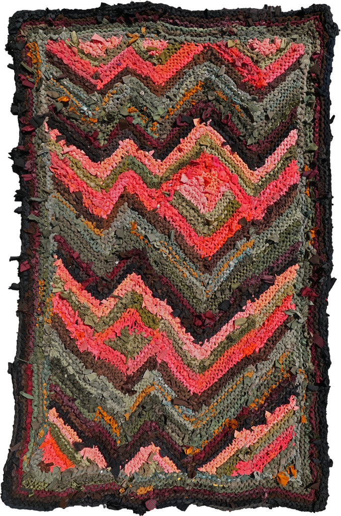 "Peach and Green Florentine Rag Rug, 40"" x 59"" - Knitted rug -  -  Karen Tiede Studio - 1"