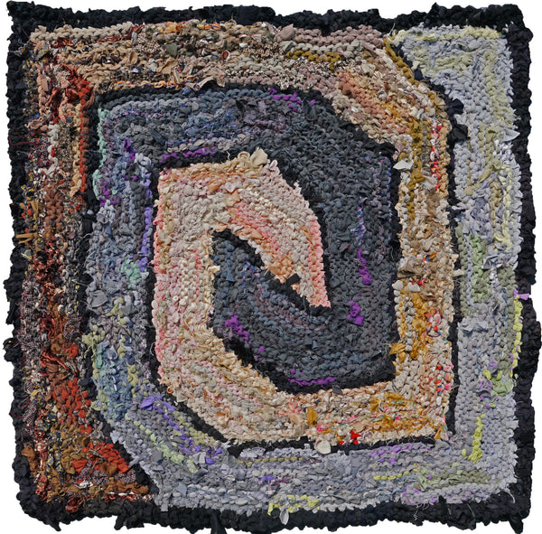 "Brown and Gray Spiraling Square Rag Rug, 41"" x 41"" - Knitted rug -  -  Karen Tiede Studio - 1"