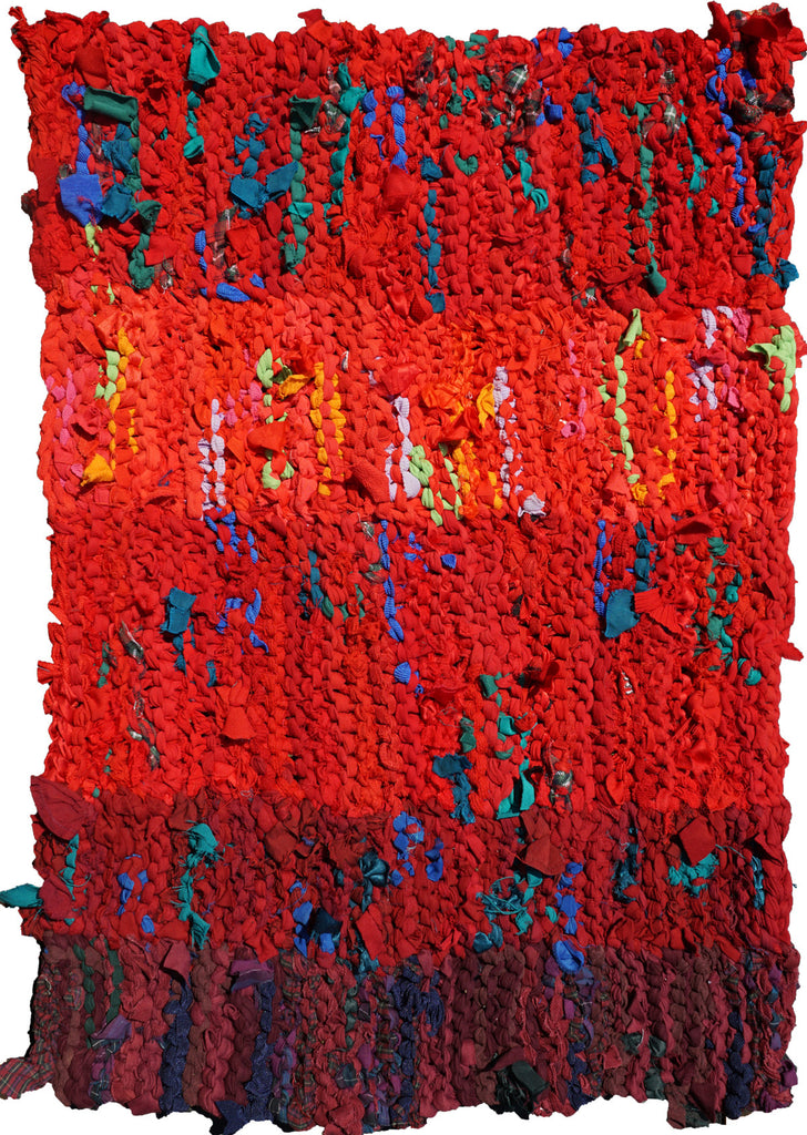 "Red Stripes Rag Rug, 23"" x 31"" - Knitted rug -  -  Karen Tiede Studio"