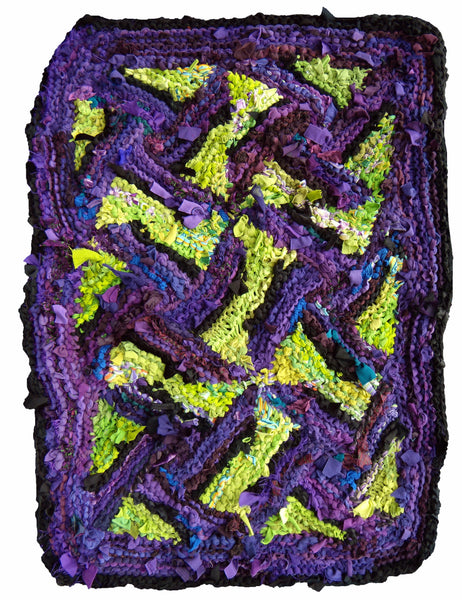 "Dancing Triangles Rag Rug, 47"" x 33"" - Knitted rug -  -  Karen Tiede Studio"