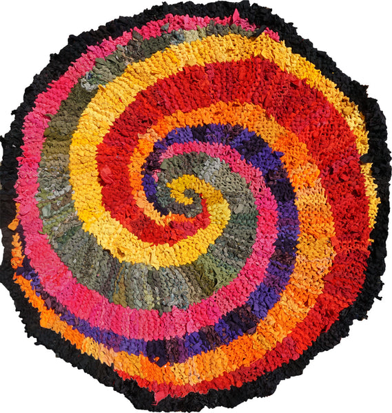 "Colors of India Rag Rug, 48"" - Knitted rug -  -  Karen Tiede Studio - 1"