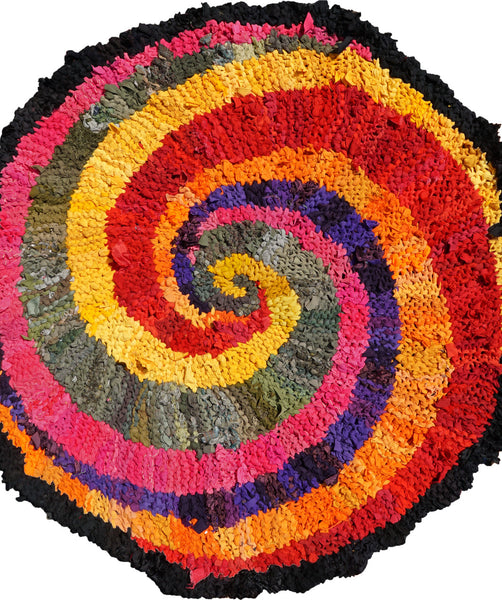 "Colors of India Rag Rug, 48"" - Knitted rug -  -  Karen Tiede Studio - 2"