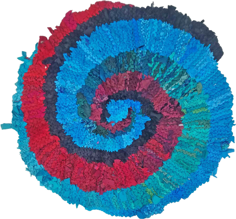 Summer Wave Spiral Rag Rug