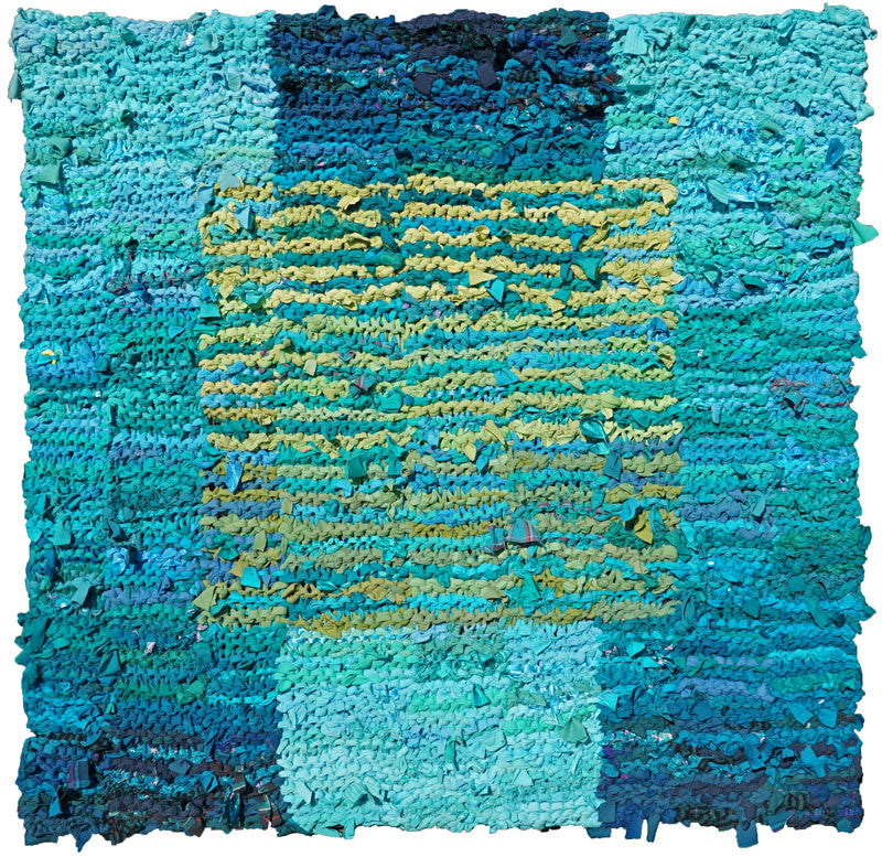 "Teal & Olive Floating Square Rag Rug 46"" x 45"" - Knitted rug -  -  Karen Tiede Studio - 1"