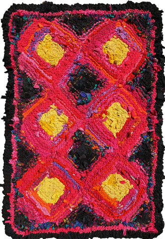 "Pink & Yellow Log Cabin Rag Rug, 35"" x 56"" - Knitted rug -  -  Karen Tiede Studio"
