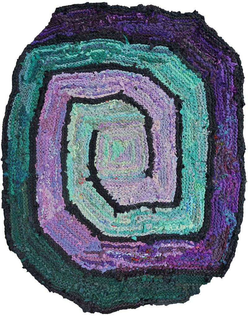 "Square Spiral, Purple & Green Rag Rug 40"" x 59"" - Knitted rug -  -  Karen Tiede Studio"