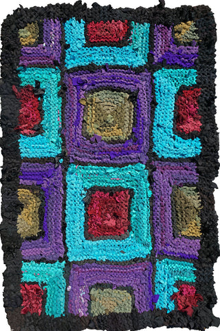 "Purple Turquoise Olive Ruby Knitted Rug, 52"" x 34"" - Knitted rug -  -  Karen Tiede Studio"