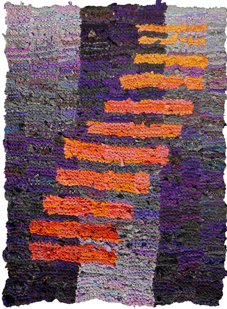 Purple and Peach Climbing Bars Rag Rug, 4' x 6' - Knitted rug -  -  Karen Tiede Studio - 1