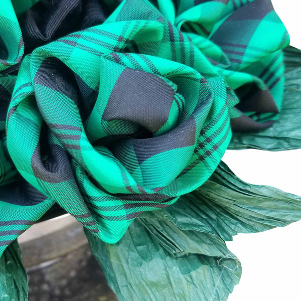 Green Plaid Roses in a Revere Bowl