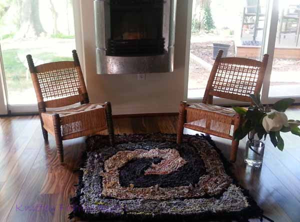 "Brown and Gray Spiraling Square Rag Rug, 41"" x 41"" - Knitted rug -  -  Karen Tiede Studio - 3"
