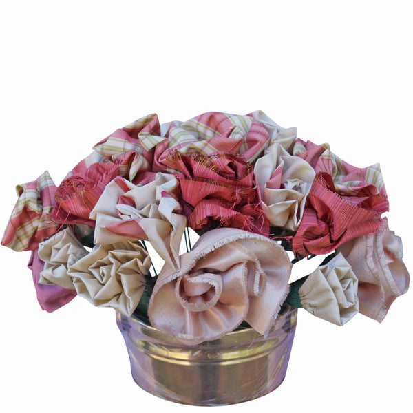 Plaid Roses in a Brass Container