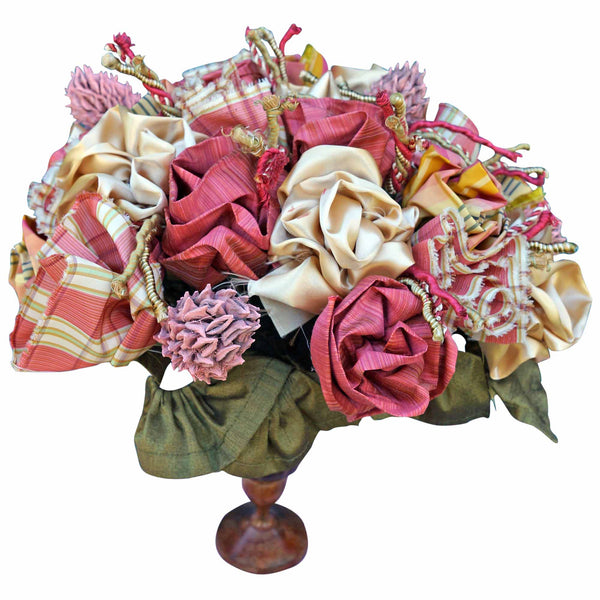 Plaid Roses in an Urn with Magnolias